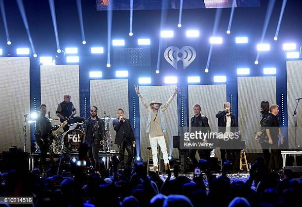 Recording artists Brian Kelley and Tyler Hubbard of music group Florida Georgia Line and recording artists A J McLean Howie Dorough Nick Carter Kevin...