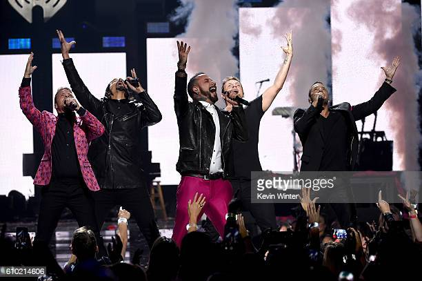 Recording artists Brian Littrell Kevin Richardson A J McLean Nick Carter and Howie Dorough of music group Backstreet Boys perform onstage at the 2016...