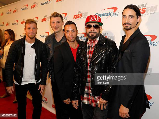 Recording artists Brian Littrell Nick Carter Howie Dorough A J McLean and Kevin Richardson of music group Backstreet Boys attend 1061 KISS FM's...