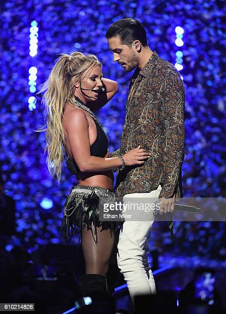 Recording artists Britney Spears and GEazy performonstage at the 2016 iHeartRadio Music Festival at TMobile Arena on September 24 2016 in Las Vegas...