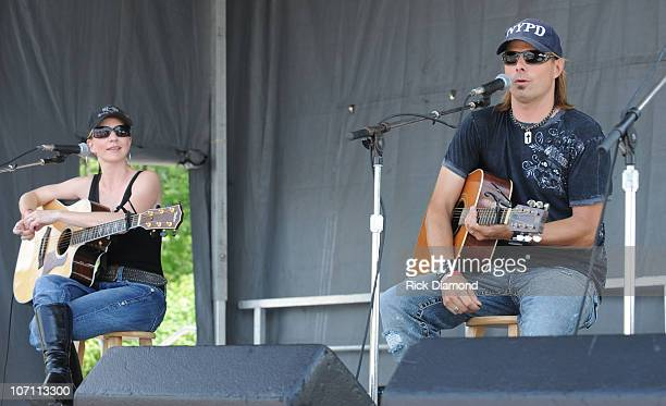 Recording Artists Brother and Sister Elaine Roy and Lee Roy are The Roys perform at the TJ Martel Little Big Town Ride for A Cure Being held during...