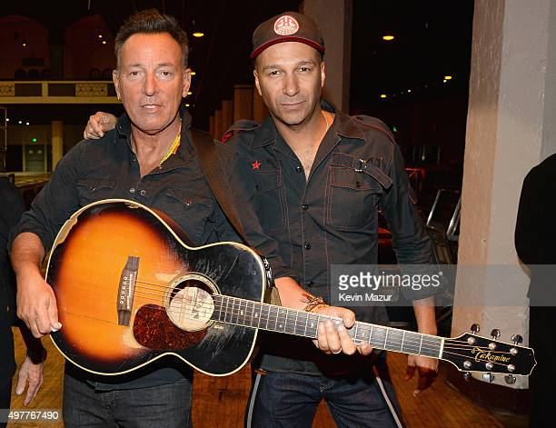 "Recording artists Bruce Springsteen and Tom Morello attend A+E Networks ""Shining A Light"" concert at The Shrine Auditorium on November 18, 2015 in..."