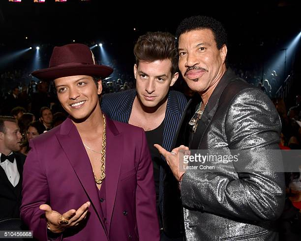 Recording artists Bruno Mars Mark Ronson and Lionel Richie attend The 58th GRAMMY Awards at Staples Center on February 15 2016 in Los Angeles...