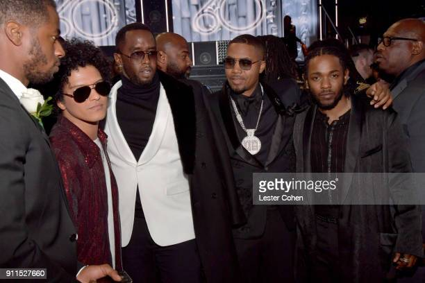 Recording artists Bruno Mars Sean 'Diddy' Combs Nas and Kendrick Lamar attend the 60th Annual GRAMMY Awards at Madison Square Garden on January 28...