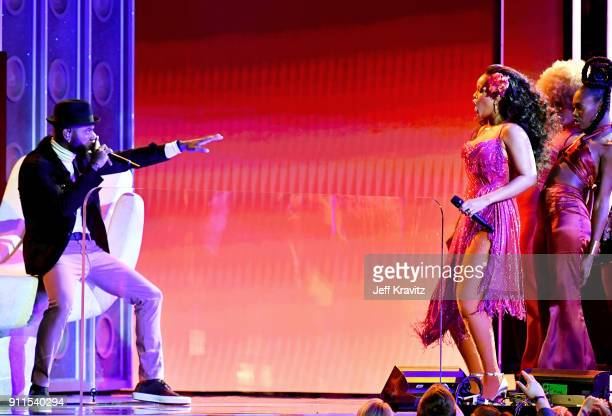 Recording artists Bryson Tiller and Rihanna perform onstage during the 60th Annual GRAMMY Awards at Madison Square Garden on January 28 2018 in New...