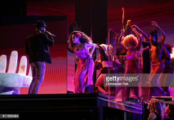 Recording artists Bryson Tiller and Rihanna perform onstage the 60th Annual GRAMMY Awards at Madison Square Garden on January 28 2018 in New York City