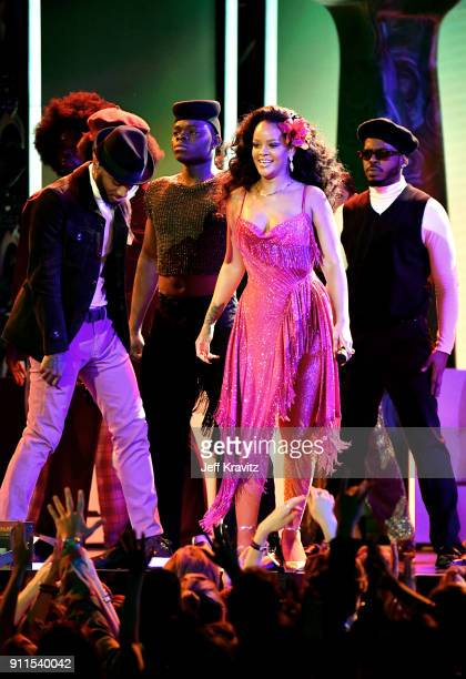 Recording artists Bryson Tiller and Rihanna performs onstage during the 60th Annual GRAMMY Awards at Madison Square Garden on January 28 2018 in New...