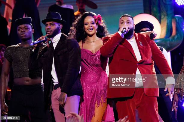 Recording artists Bryson Tiller Rihanna and DJ Khaled perform onstage during the 60th Annual GRAMMY Awards at Madison Square Garden on January 28...