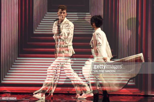 Recording artists Camila Cabello and Machine Gun Kelly on stage at the 30th Annual Nickelodeon Kids' Choice Awards March 11 at the Galen Center on...