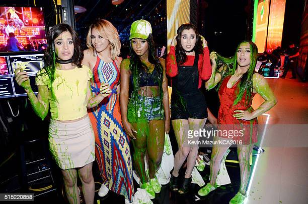 Recording artists Camila Cabello DinahJane Hansen Normani Hamilton Lauren Jauregui and Ally Brooke of music group Fifth Harmony pose after being...