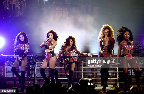 Recording artists Camila Cabello Lauren Jauregui Ally Brooke DinahJane Hansen and Normani Hamilton of Fifth Harmony perform onstage during the 2016...