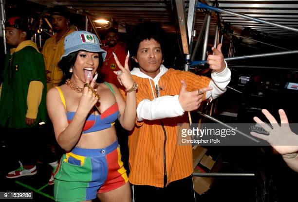 Recording artists Cardi B and Bruno Mars attends the 60th Annual GRAMMY Awards at Madison Square Garden on January 28 2018 in New York City