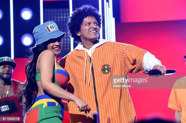 Recording artists Cardi B and Bruno Mars perform onstage during the 60th Annual GRAMMY Awards at Madison Square Garden on January 28 2018 in New York...
