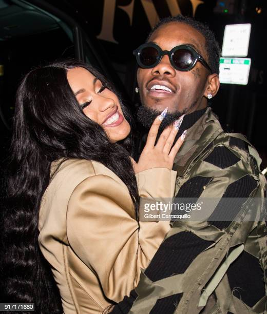 Recording artists Cardi B and Offset of the group Migos are seen leaving Prabal Gurung fashion show during New York Fashion Week at Spring Studios on...