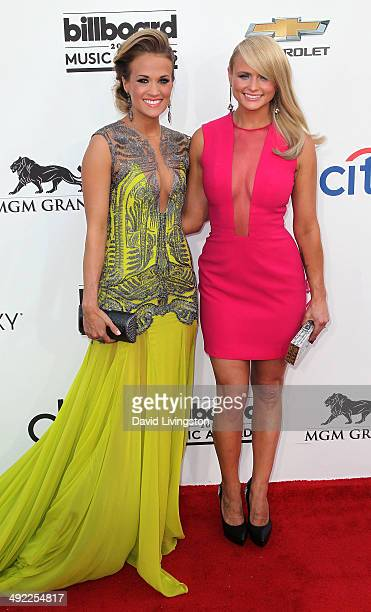 Recording artists Carrie Underwood and Miranda Lambert attend the 2014 Billboard Music Awards at the MGM Grand Garden Arena on May 18, 2014 in Las...