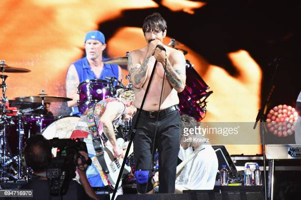 Recording artists Chad Smith and Anthony Kiedis of Red Hot Chili Peppers perform onstage at What Stage during Day 3 of the 2017 Bonnaroo Arts And...
