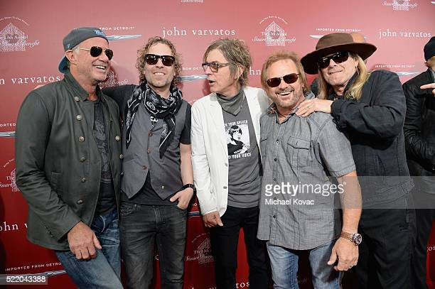 Recording artists Chad Smith Daxx Nielsen Tom Petersson Michael Anthony and Robin Zander attend the John Varvatos 13th Annual Stuart House benefit...