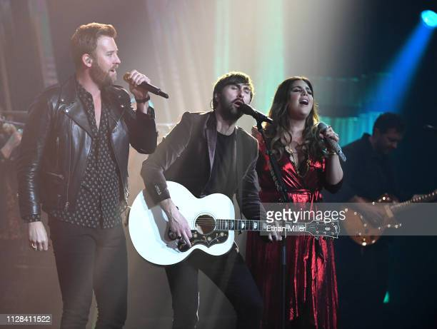 Recording artists Charles Kelley Dave Haywood and Hillary Scott of Lady Antebellum perform as the band kicks off its 15show residency Our Kind of...