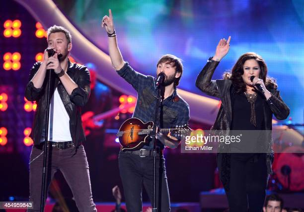 Recording artists Charles Kelley, Dave Haywood and Hillary Scott of Lady Antebellum perform onstage during the American Country Awards 2013 at the...