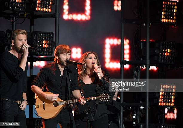 Recording artists Charles Kelley Dave Haywood and Hillary Scott of music group Lady Antebellum perform onstage during the 50th Academy Of Country...