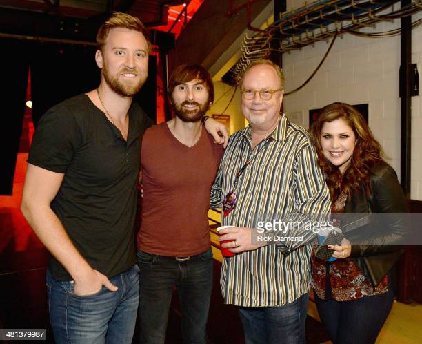 Recording artists Charles Kelley Dave Haywood President/CEO Universal Music Group Nashville Mike Dungan and Hillary Scott attend iHeartRadio Country...
