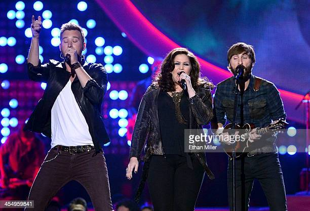 Recording artists Charles Kelley, Hillary Scott and Dave Haywood of Lady Antebellum perform onstage during the American Country Awards 2013 at the...