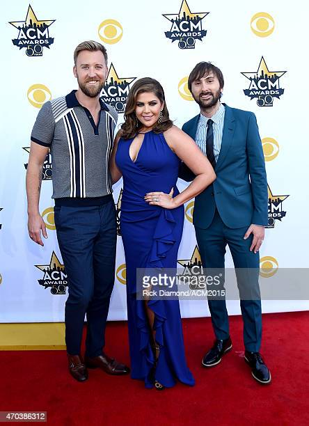 Recording artists Charles Kelley Hillary Scott and Dave Haywood of the music group Lady Antebellum attend the 50th Academy of Country Music Awards at...