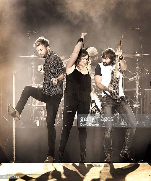 Recording artists Charles Kelley Hillary Scott and Dave Haywood of Lady Antebellum perform during the Route 91 Harvest country music festival at the...