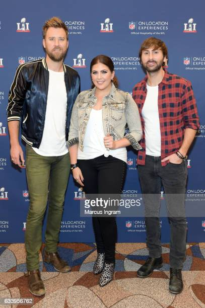 Recording artists Charles Kelley Hillary Scott and Dave Haywood of Lady Antebellum at On Location Experiences' Super Bowl LI PreGame Events at NRG on...