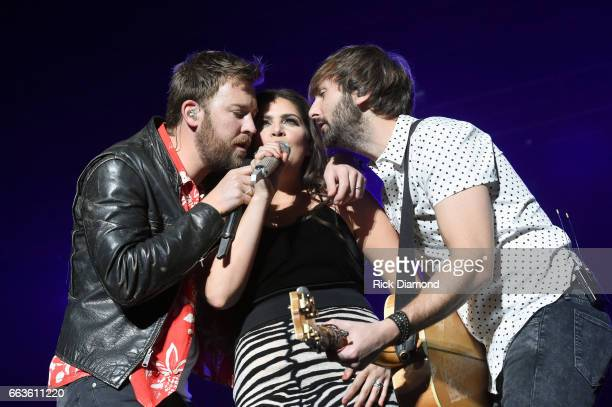 Recording artists Charles Kelley Hillary Scott and Dave Haywood of Lady Antebellum perform onstage during the ACM Party For A Cause The Joint at The...