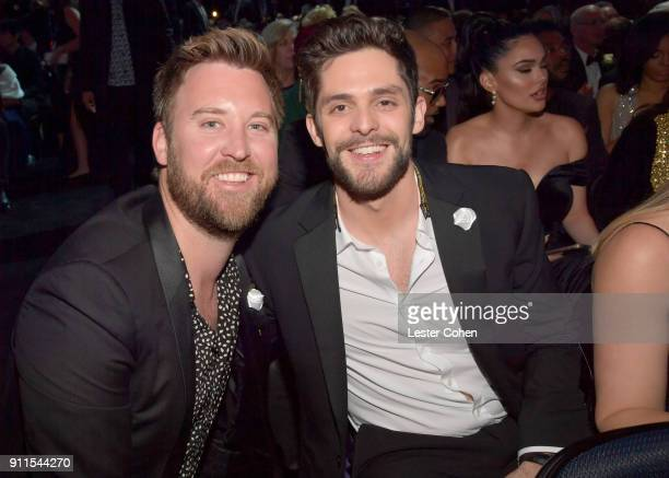 Recording artists Charles Kelley of musical group Lady Antebellum and Thomas Rhett attend the 60th Annual GRAMMY Awards at Madison Square Garden on...