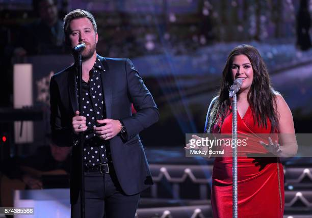 Recording artists Charles Kelly and Hillary Scott of Lady Antebellum perform during CMA 2017 Country Christmas at The Grand Ole Opry on November 14...