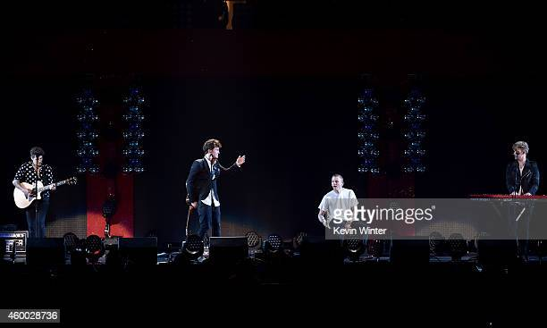 Recording artists Charley Bagnall Jake Roche Lewi Morgan and Danny Wilkin of music group Rixton perform onstage during KIIS FM's Jingle Ball 2014...