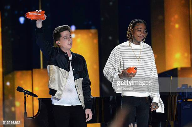 Recording artists Charlie Puth and Wiz Khalifa perform onstage during Nickelodeon's 2016 Kids' Choice Awards at The Forum on March 12 2016 in...