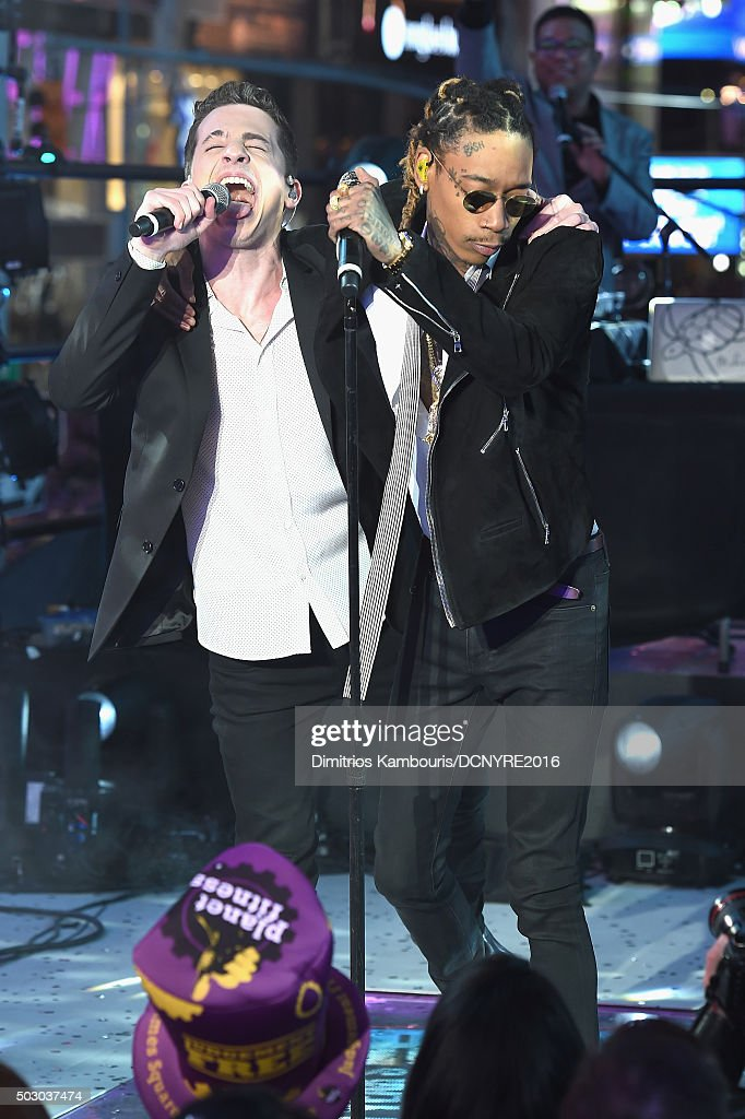 """Recording Artists Charlie Puth and Wiz Khalifa perform """"See You Again"""" at the Dick Clark's New Year's Rockin' Eve with Ryan Seacrest 2016 on December 31, 2015 in New York City."""