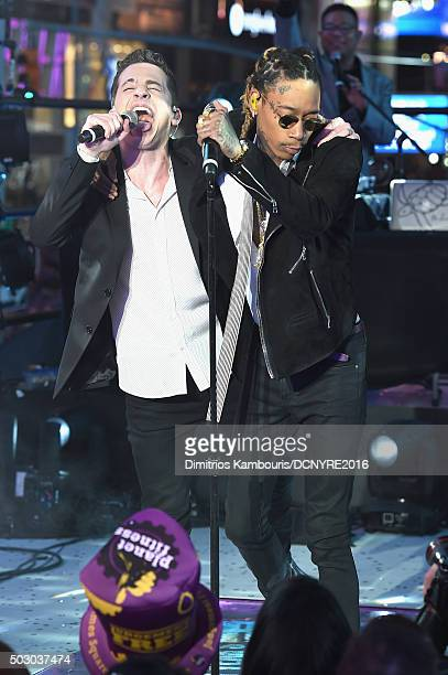"""Recording Artists Charlie Puth and Wiz Khalifa perform """"See You Again"""" at the Dick Clark's New Year's Rockin' Eve with Ryan Seacrest 2016 on December..."""