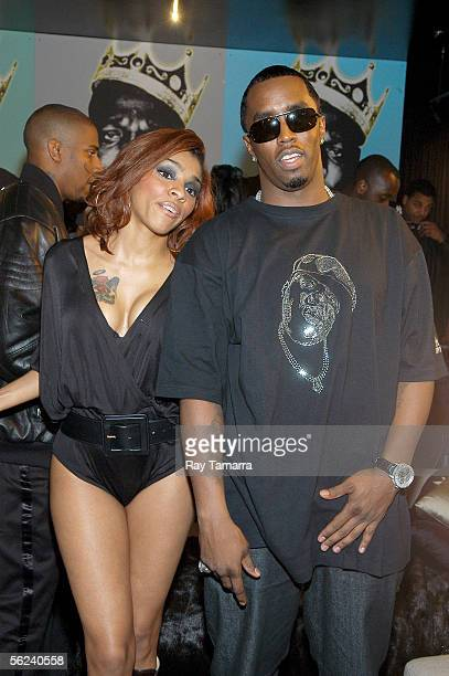Recording artists Cheri Dennis and Sean Diddy Combs attend the Notorious BIG Duets Remix Video Shoot Day 2 at a private residence November 18 2005 in...