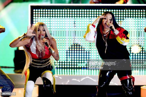 Recording artists Cheryl James and Sandra Denton of musical group SaltNPepa perform onstage during the 2018 Billboard Music Awards at MGM Grand...