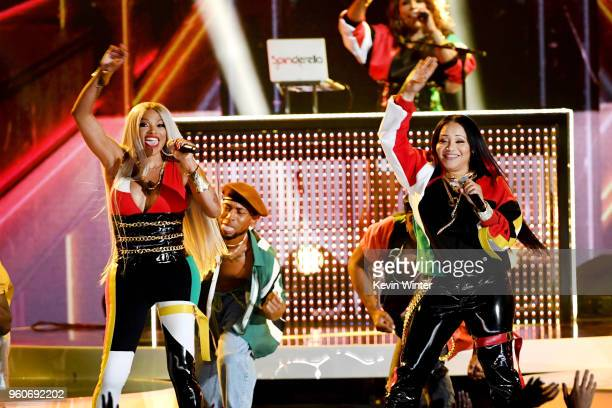 Recording artists Cheryl James and Sandra Denton of musical group Salt-N-Pepa perform onstage during the 2018 Billboard Music Awards at MGM Grand...