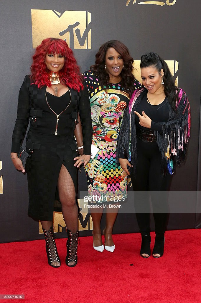 Recording artists Cheryl James, Sandra Denton and DJ Spinderella of Salt-n-Pepa attend the 2016 MTV Movie Awards at Warner Bros. Studios on April 9, 2016 in Burbank, California. MTV Movie Awards airs April 10, 2016 at 8pm ET/PT.