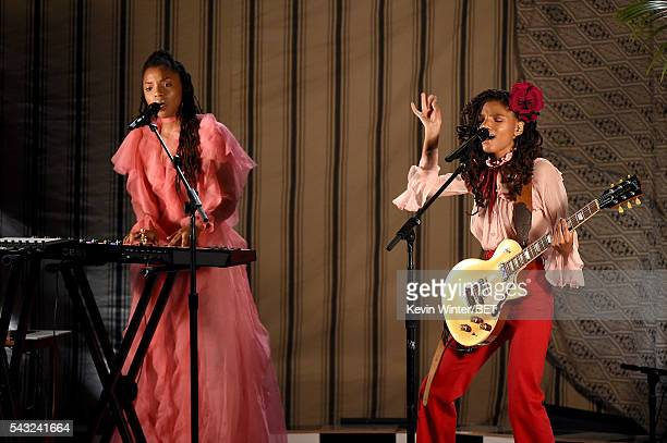 Recording artists Chloe Bailey and Halle Bailey of Chloe x Halle perform onstage during the 2016 BET Awards at the Microsoft Theater on June 26, 2016...