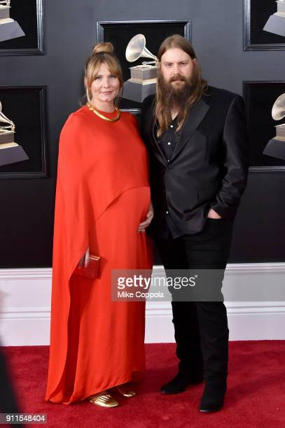 Recording artists Chris and Morgane Stapleton attend the 60th Annual GRAMMY Awards at Madison Square Garden on January 28 2018 in New York City