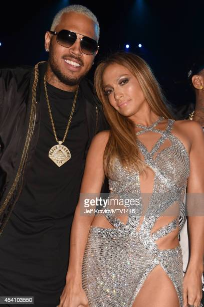 Recording artists Chris Brown and Jennifer Lopez attend the 2014 MTV Video Music Awards at The Forum on August 24 2014 in Inglewood California