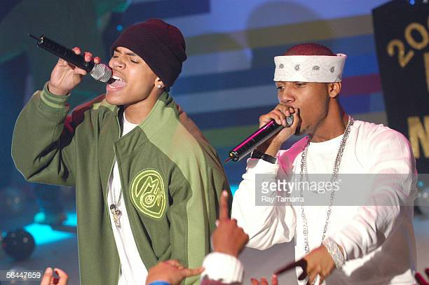 Recording artists Chris Brown and Juelz Santana perform at 106 And Park's 106 And Party New Years Eve Show Taping at CBS Studios December 16 2005 in...