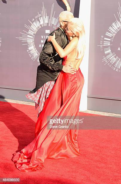 Recording artists Chris Brown and Rita Ora attend the 2014 MTV Video Music Awards at The Forum on August 24 2014 in Inglewood California