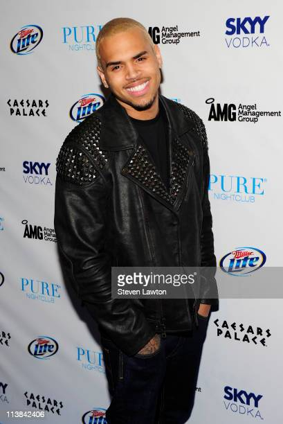 Recording artists Chris Brown arrives to celebrate his 22nd birthday at the Pure Nightclub at Caesars Palace on May 7 2011 in Las Vegas Nevada