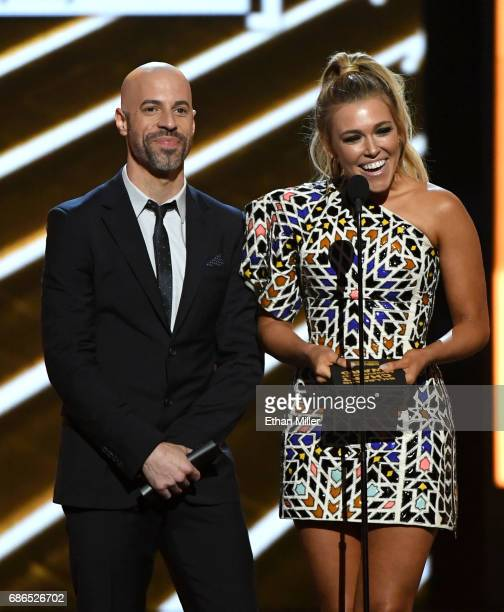 Recording artists Chris Daughtry and Rachel Platten present an award onstage during the 2017 Billboard Music Awards at TMobile Arena on May 21 2017...