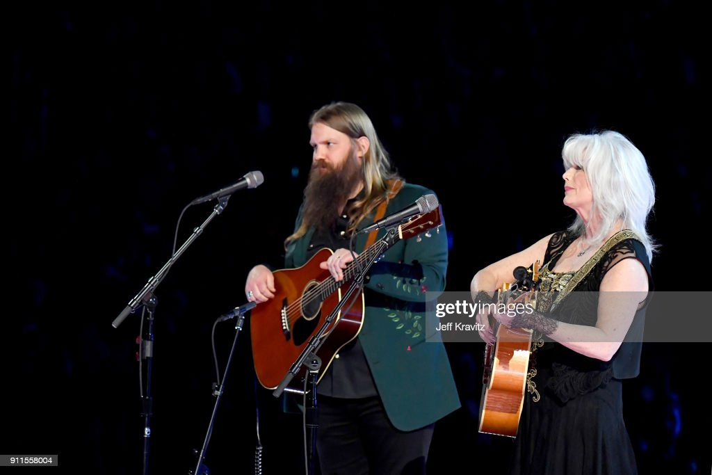 Recording artists Chris Stapleton (L) and Emmylou Harris perform onstage during the 60th Annual GRAMMY Awards at Madison Square Garden on January 28, 2018 in New York City.