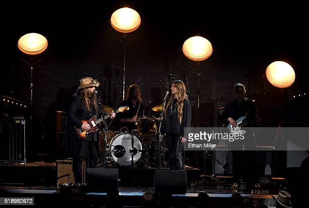 Recording artists Chris Stapleton and Morgane Stapleton perform onstage during the 51st Academy of Country Music Awards at MGM Grand Garden Arena on...