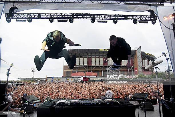 Recording artists Christian 'Bloodshy' Karlsson and Linus Eklow of Galantis performs onstage during the 2016 Billboard Hot 100 Festival at Nikon at...